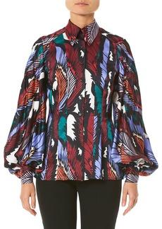 Carolina Herrera Puff-Sleeve Printed Button-Front Shirt