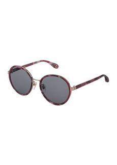 Carolina Herrera Round Acetate & Metal Sunglasses
