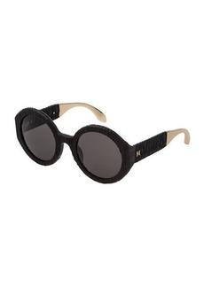 Carolina Herrera Round Textured Acetate Sunglasses