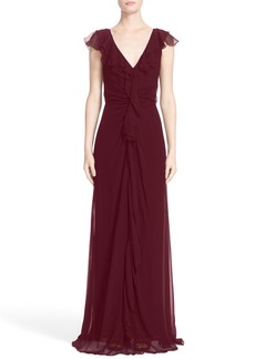 Carolina Herrera Ruffle Detail Silk Chiffon V-Neck Gown