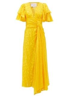 Carolina Herrera Ruffle-sleeve floral-jacquard dress