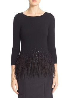 Carolina Herrera Sequin & Feather Trim Wool Sweater