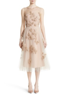 Carolina Herrera Sequin Leaf Tulle Midi Dress