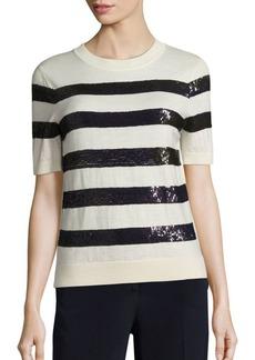 Carolina Herrera Sequin-Striped Wool Knit Top