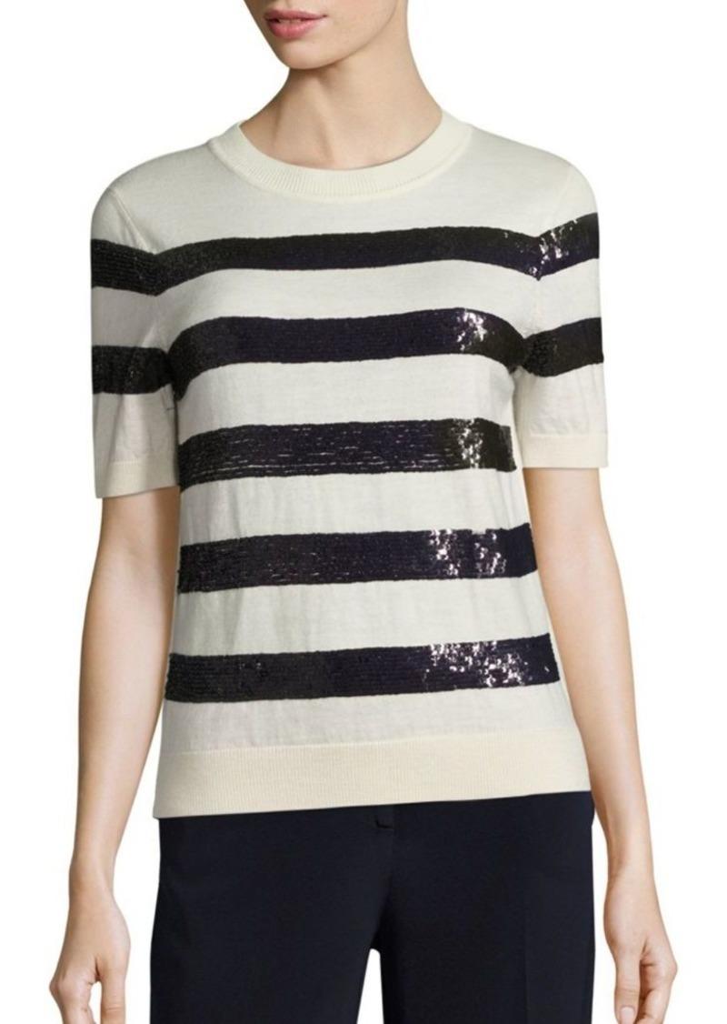 5fd9167585 SALE! Carolina Herrera Sequin-Striped Wool Knit Top