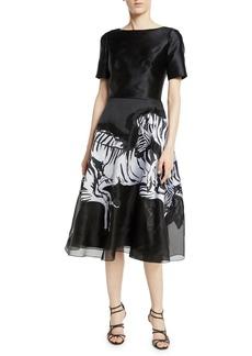 Carolina Herrera Short-Sleeve Fit-and-Flare Cocktail Dress w/ Running Zebra Print