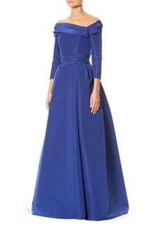 Carolina Herrera Silk Off-The-Shoulder Gown