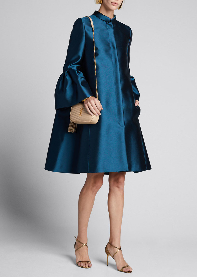 Carolina Herrera Mikado Silk Bell-Sleeve Opera Coat