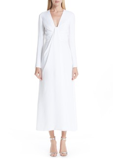 Carolina Herrera Silk V-Neck Dress