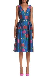 Carolina Herrera Sleeveless Allover Floral Fit & Flare Dress