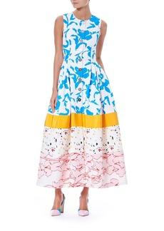 Carolina Herrera Sleeveless Button-Front Multi-Print Colorblock Long Shirtdress