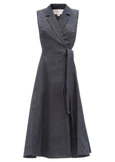 Carolina Herrera Sleeveless denim midi wrap dress