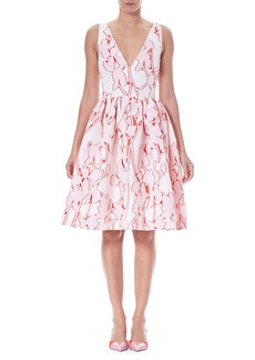 Carolina Herrera Sleeveless Fit-and-Flare Floral Fil Coupé Party Dress