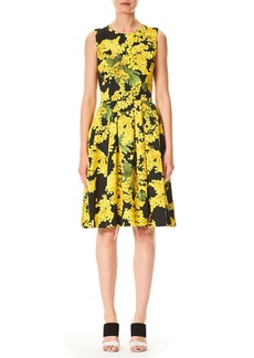Carolina Herrera Sleeveless Floral-Print Fit-and-Flare Cotton-Blend Day Dress