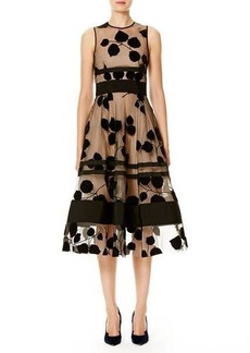 Carolina Herrera Sleeveless Illusion Vine Midi Dress