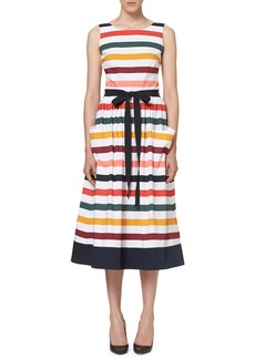Carolina Herrera Sleeveless Striped Belted Midi Dress