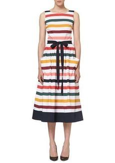 Carolina Herrera Sleeveless Striped Belted Midi Dress