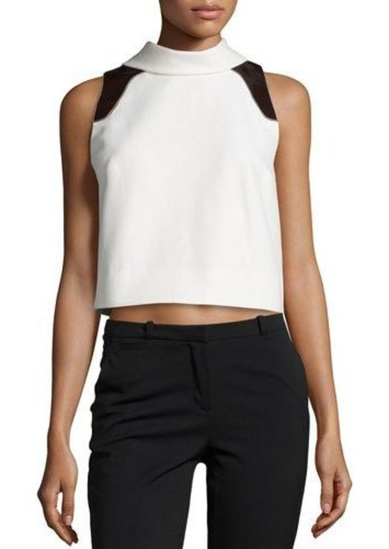 Carolina Herrera Sleeveless Textured Crop Top