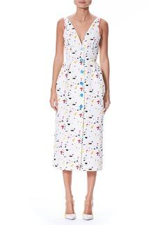 Carolina Herrera Sleeveless V-Neck Button-Front Printed Midi Dress