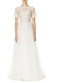 Carolina Herrera Soutache-Embroidered Tulle A-Line Gown