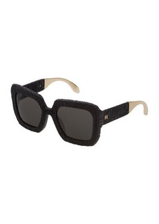 Carolina Herrera Square Textured Acetate Sunglasses