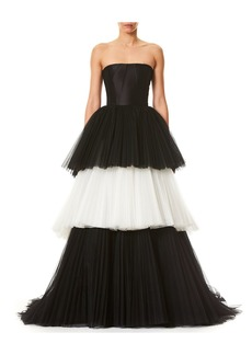 Carolina Herrera Strapless Bustier Layered Colorblock Tulle Evening Ball Gown