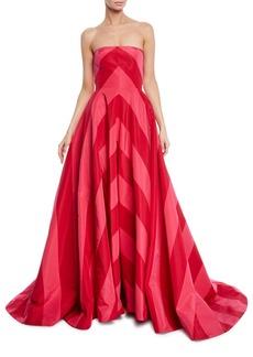 Carolina Herrera Strapless Chevron Striped Gown