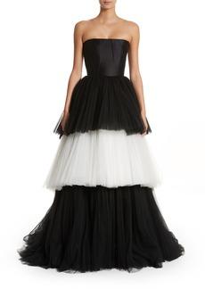 Carolina Herrera Strapless Layered Tulle Gown