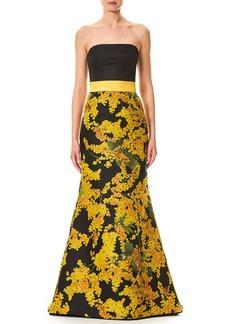 Carolina Herrera Strapless Mimosa-Flower Print Trumpet Evening Gown