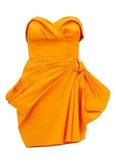 Carolina Herrera Strapless ruched silk-faille mini dress