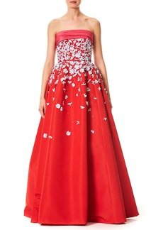 Carolina Herrera Strapless Silk Faille Evening Ball Gown with Floral Appliques