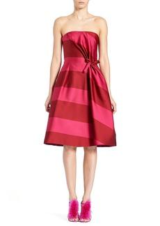 Carolina Herrera Strapless Wide-Stripe Cocktail Dress