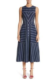 Carolina Herrera Stripe Denim Midi Dress