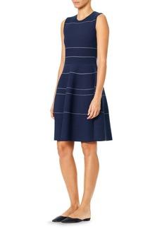 Carolina Herrera Stripe Knit Fit-and-Flare Dress