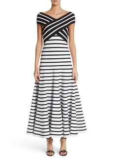 Carolina Herrera Stripe Off the Shoulder Maxi Dress