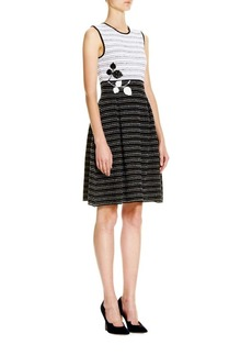 Carolina Herrera Striped Embroidered Knit Dress
