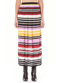 Carolina Herrera Striped Pleated Knit A-Line Maxi Skirt