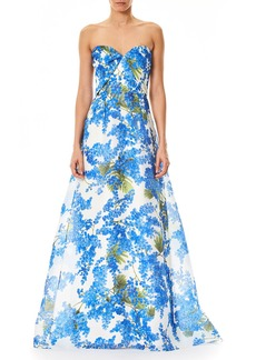 Carolina Herrera Sweetheart-Neck Floral-Print Evening Gown