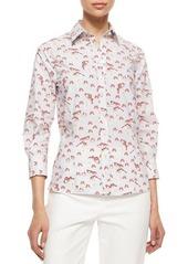 Carolina Herrera Three-Quarter-Sleeve Pansy-Print Button Blouse
