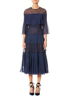 Carolina Herrera Tiered Floral Lace Midi Dress