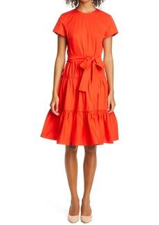 Carolina Herrera Tiered Stretch Poplin Dress
