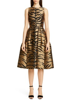 Carolina Herrera Tiger Jacquard Fit & Flare Dress