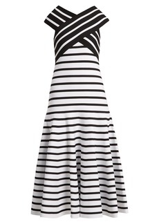 Carolina Herrera V-neck flared-skirt striped dress