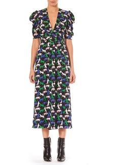 Carolina Herrera V-Neck Pouf-Sleeve Wildcat Print Georgette Dress