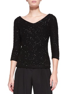 Carolina Herrera V-Neck Sequined Chevron Sweater