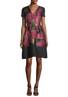 Carolina Herrera V-Neck Short-Sleeve Floral Jacquard Dress