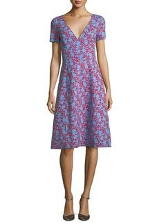 Carolina Herrera V-Neck Short-Sleeve Floral-Print Dress