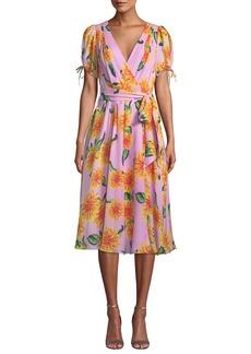 Carolina Herrera V-Neck Short-Sleeve Floral-Print Silk Wrap Dress