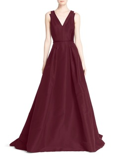 Carolina Herrera V-Neck Silk Ballgown