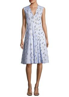 Carolina Herrera V-Neck Sleeveless Bird-Print Midi Dress